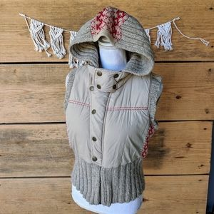 Free People Sweater Hooded Puffer Vest Size Medium